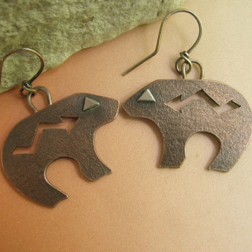 Copper And Sterling Silver Mixed Metal Earrings Bear Earrings