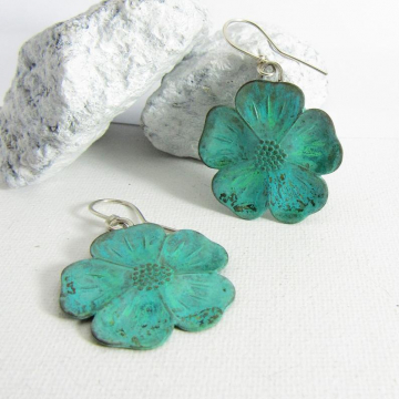 Boho Blue Green Verdigris Sterling Silver And Brass Flower Earrings