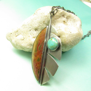 Turquoise And Cherry Creek Jasper Necklace Leaf Necklace