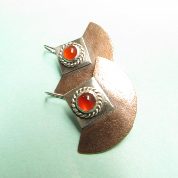 Copper, Silver and Carnelian Earrings - photo 2