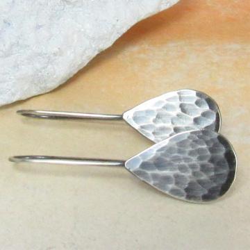 Argentium Sterling Silver Hammered Tear Drop Earrings