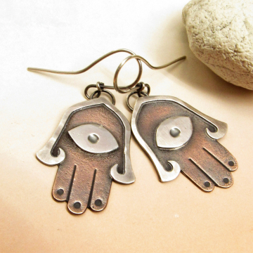 Mixed metal copper and silver Hamsa Earrings - image 1