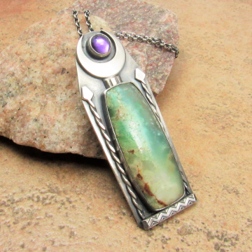 Amphitrite Pendant, Amethyst And Chrysoprase Necklace, Greek Mythology Sterling