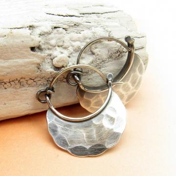 Rustic Hammered Small Sterling Silver Blade Hoop Earrings - Image 2