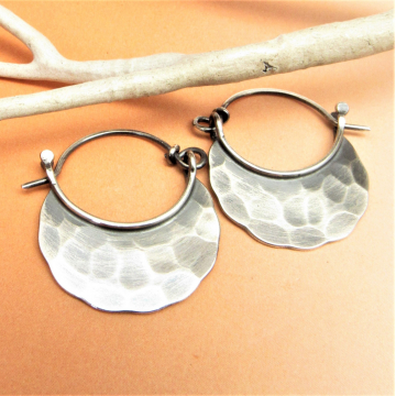 Rustic Hammered Small Sterling Silver Blade Hoop Earrings - Image 1