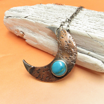 Handcrafted copper, sterling silver and turquoise crescent moon necklace Photo 1