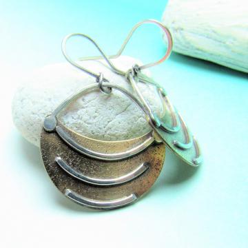 Small Tribal Fertile Crescent Earrings, Two Tone Mixed Metal Artisan Earrings 1