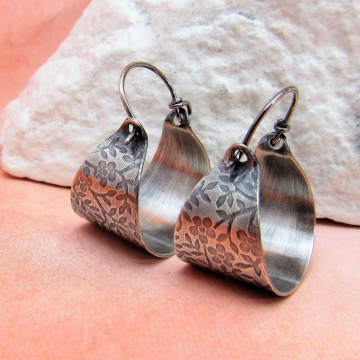 Flower Pattern Sterling Silver Basket Earrings