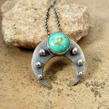 Sterling Silver And Turquoise Naja Pendant Necklace