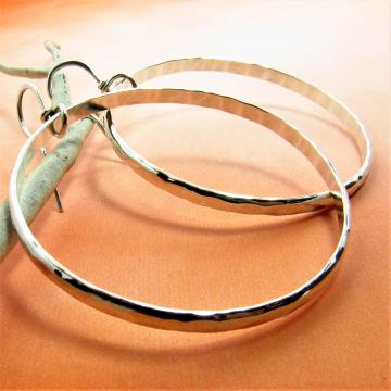 Large Hammered Argentium Sterling Silver Circle Hoop Earrings - 2