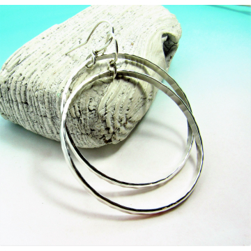 Large Hammered Argentium Sterling Silver Circle Hoop Earrings - 1