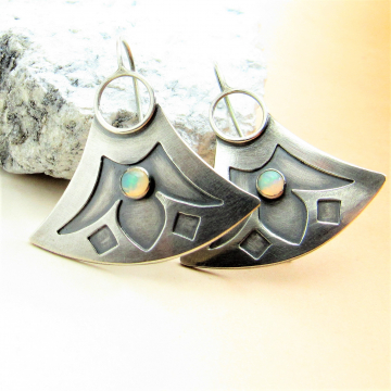 Tribal, Egyptian Inspired Lotus Earrings In Argentium Sterling Silver With Opal