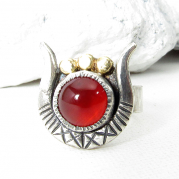 Sterling Silver, 18K Gold And Carnelian Goddess Hathor Ring, Size 7