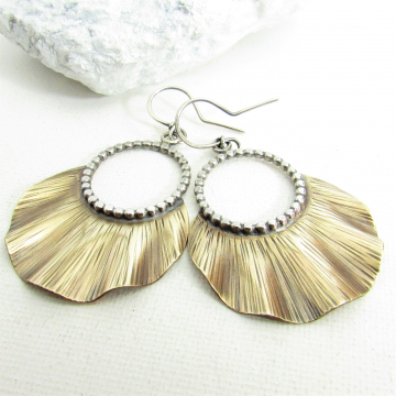Bronze And Sterling Silver Mixed Metal Ruffle Earrings