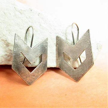 Contemporary Southwest Sterling Silver Chevron Earrings - Image 1