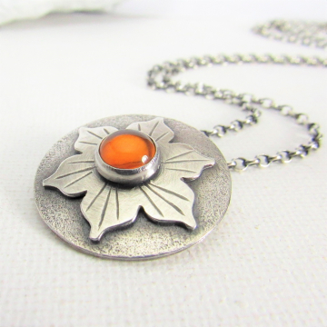 Lotus Flower Amber Necklace In Argentium Sterling Silver