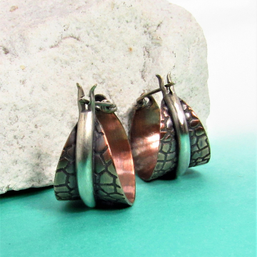 Two Tone Copper And Sterling Silver Basket Hoop Earrings - Image 1