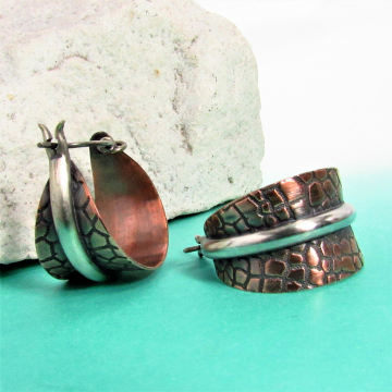 Two Tone Copper And Sterling Silver Basket Hoop Earrings - Image 2