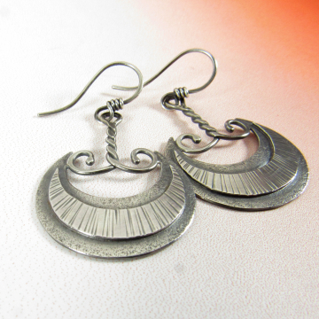 Akkadian Moon Dangle Earrings