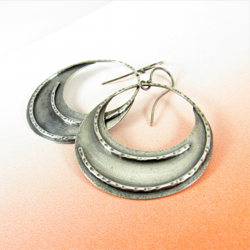 Large Rustic Sterling Silver Dangle Hoop Earrings