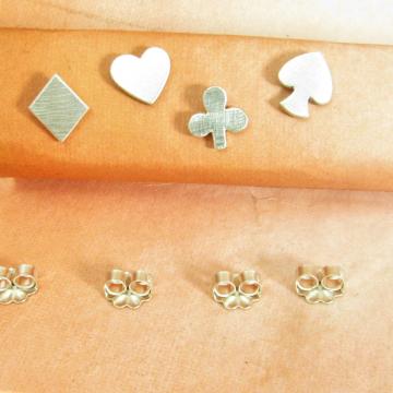Sterling Silver Heart, Spade, Club, Diamond Earrings