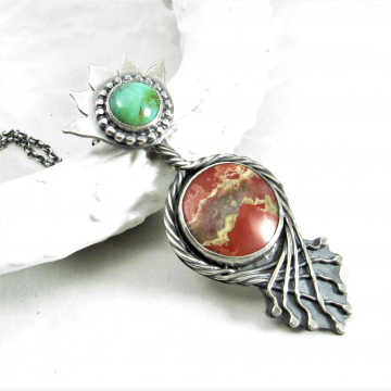 Terra Virgo - One Of A kind Jasper And Turquoise Pendant Necklace