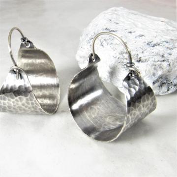 Classic Hammered Sterling Silver Basket Hoop Earrings