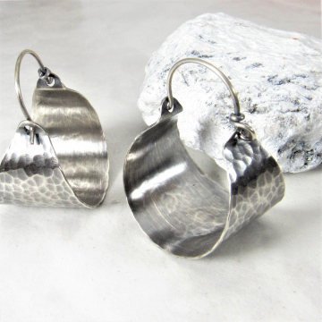 Classic Hammered Sterling Silver Basket Hoop Earrings
