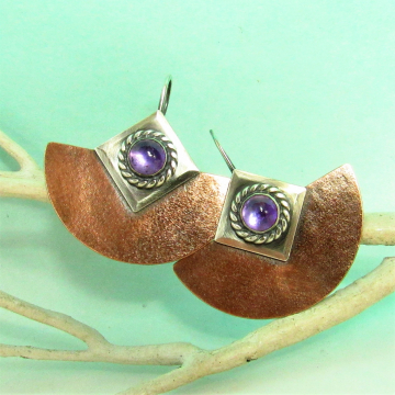 Amethyst Two Tone Shield Earrings In Mixed Metals - Image 2