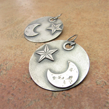 Star And Moon Earrings, Large Celestial Earrings In Argentium Sterling Silver