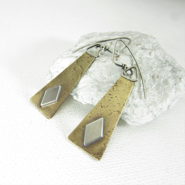 Geometric Trapezoid And Diamond Mixed Metal Earrings, Sterling Silver And Bronze