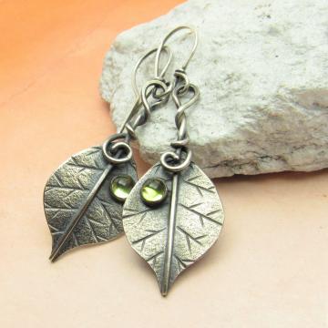 Sterling Silver And Peridot Leaf Earrings