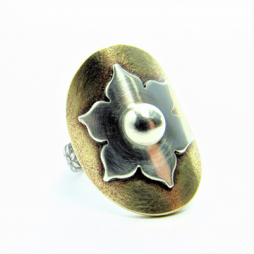 Bronze, Sterling And Fine Silver Lotus Ring  Image 1