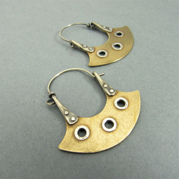 Sterling Silver And Bronze Hoop Earrings With Rivets