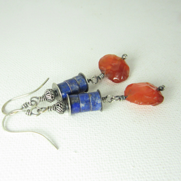Colorful Sterling Silver, Carnelian And Lapis Lazuli Earrings Exotic And Vibrant
