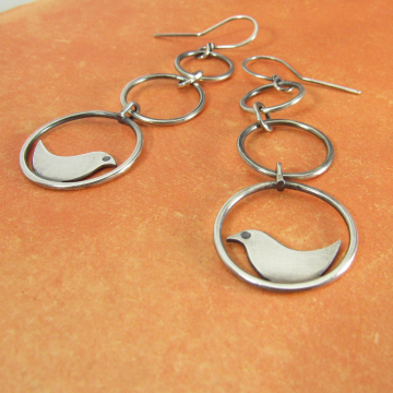 Sterling Silver Swinging Bird Earrings