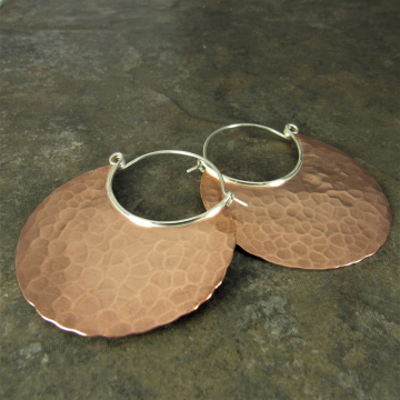 Extra Large Hammered Copper Hoop Earrings