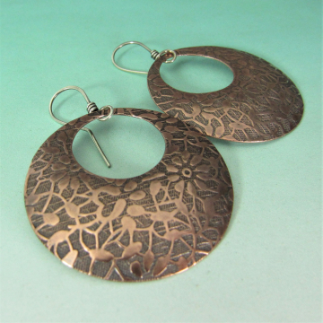 Bohemian Floral Patterend Copper Earrings, Large Gypsy Hoop Style With Sterling