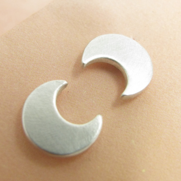 Sterling Silver Crescent Moon Stud Post Back Earrings - Image 1