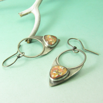 Sterling Silver, Peach Pink Vintage Glass Opal Earrings