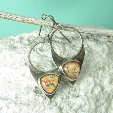 Sterling Silver, Peach Pink Vintage Glass Opal Earrings