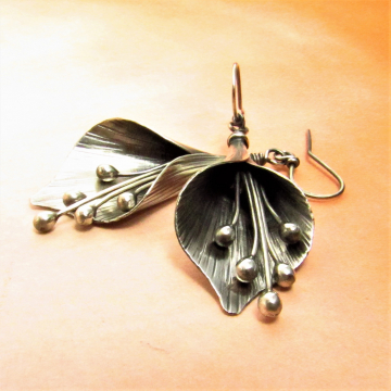 Large Argentium Sterling Silver Lily Earrings - 1