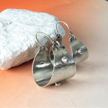 Rustic Sterling Silver Basket Hoop Earrings