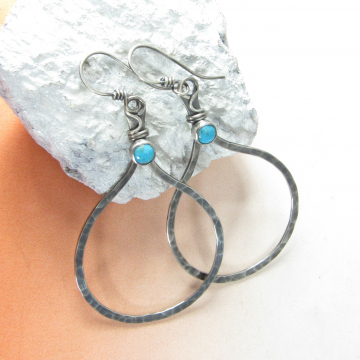 Large Sterling Silver And Turquoise Hoop Earrings