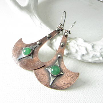 Tribal Inspired Green Adventurine Mixed Metal  Earrings