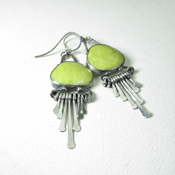 Argentium Sterling Silver And Lemony Olive Green Serpentine Earrings