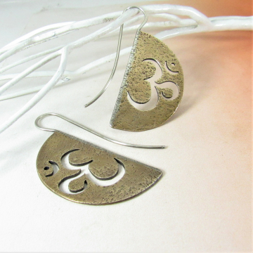 Contemporary Om Earrings in Mixed Metals of Sterling Silver And Bronze