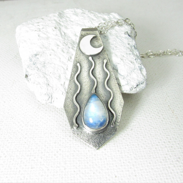 Moon Drop Sterling Silver And Moonstone Pendant Necklace