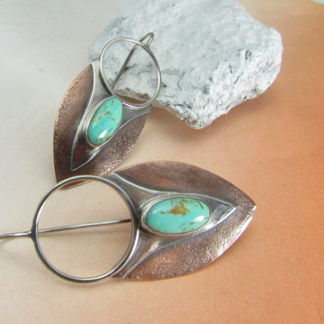 Sterling Silver, Copper And Turquoise Shield Earrings, Contemporary Mixed Metal