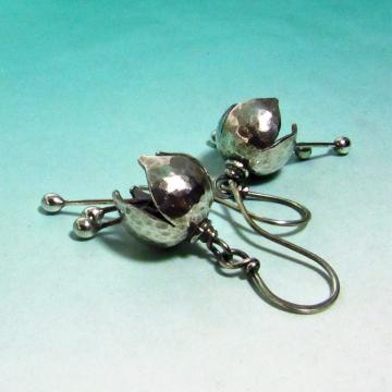 Small Argentium Bell Flower Earrings - 1